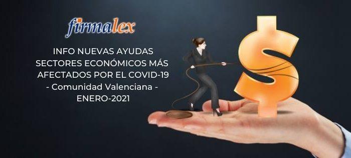Información nuevas ayudas Comunidad Valenciana para los sectores económicos más afectados por la covid-19