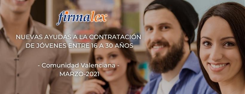 Firmalex Información ayudas contratación jóvenes entre 16 y 30 añois Generalitat Valenciana